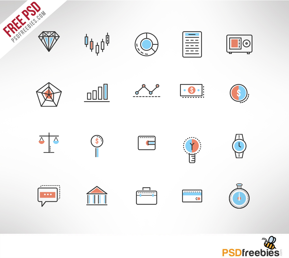 Investment Doodle Icon Set Free PSD