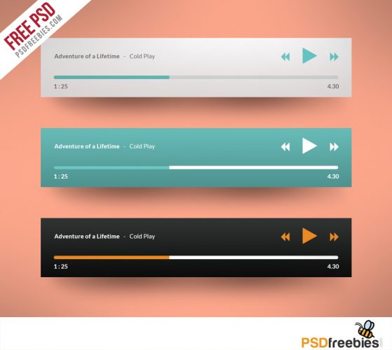 Media player Application Flat Design Free PSD