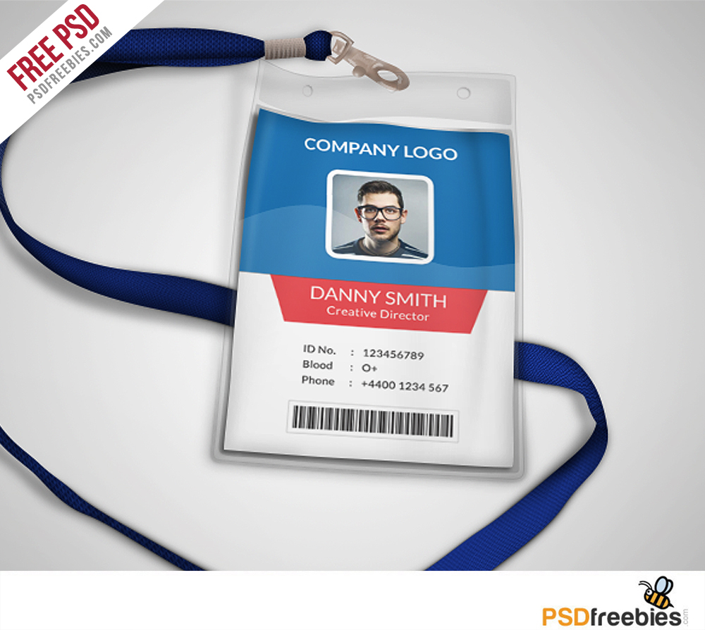 Multipurpose company id card free psd template for Id badge template free