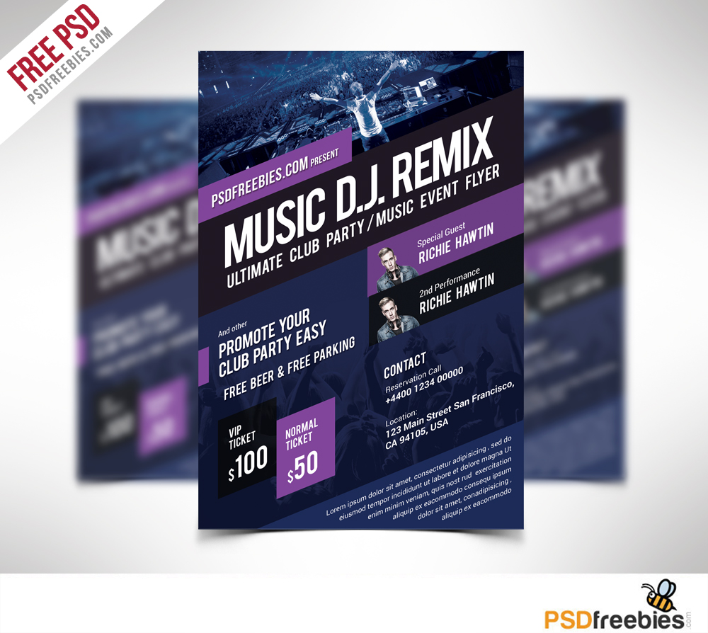 Music Event Flyer Template Free PSD – Event Flyer Templates