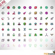 100 Spaces and Science icons Colored PSD Freebie