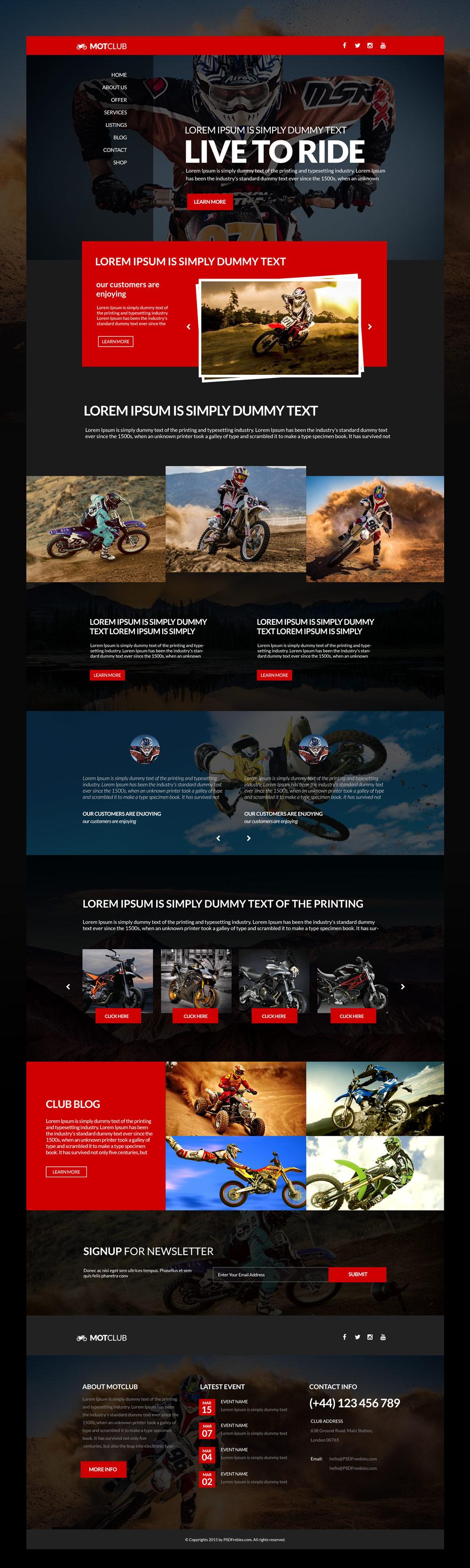 Bikers Club Website Free PSD Template