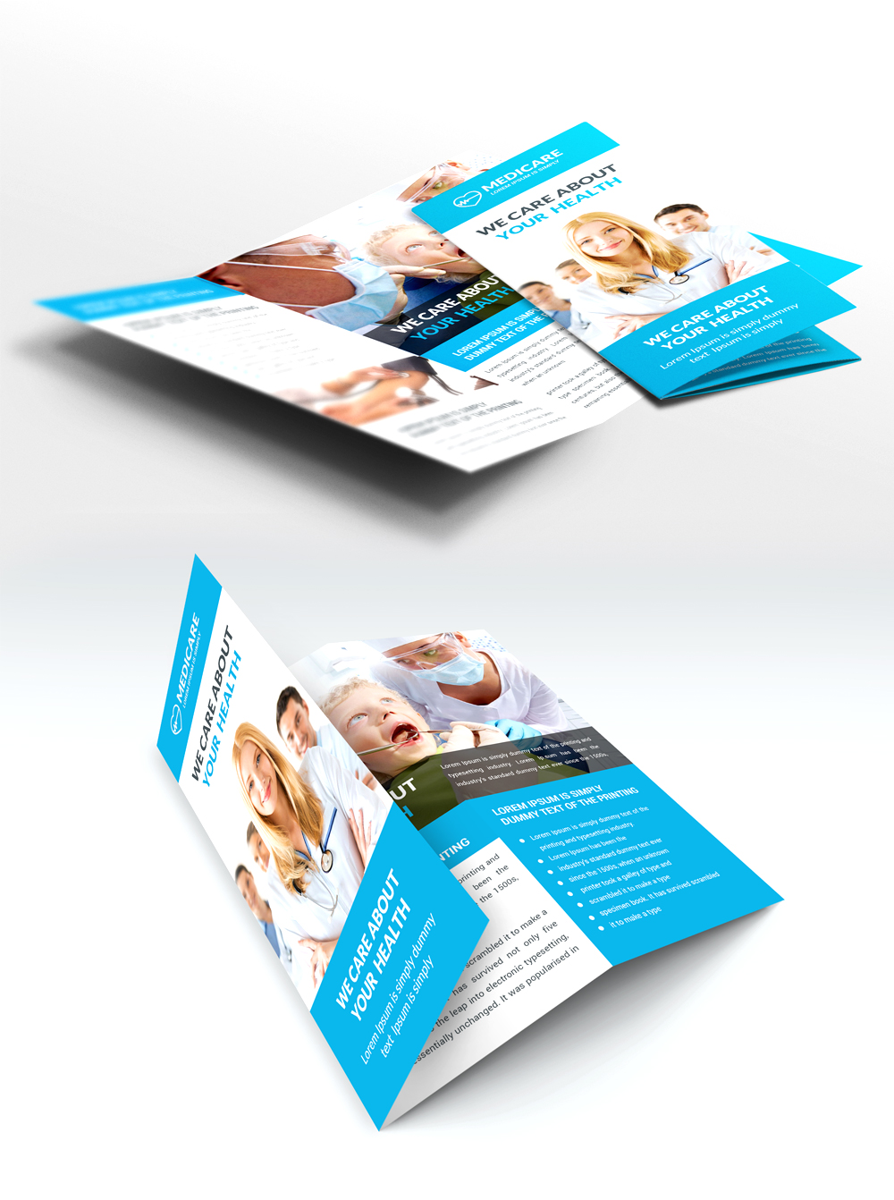 brochure design psd templates - medical care and hospital trifold brochure template free