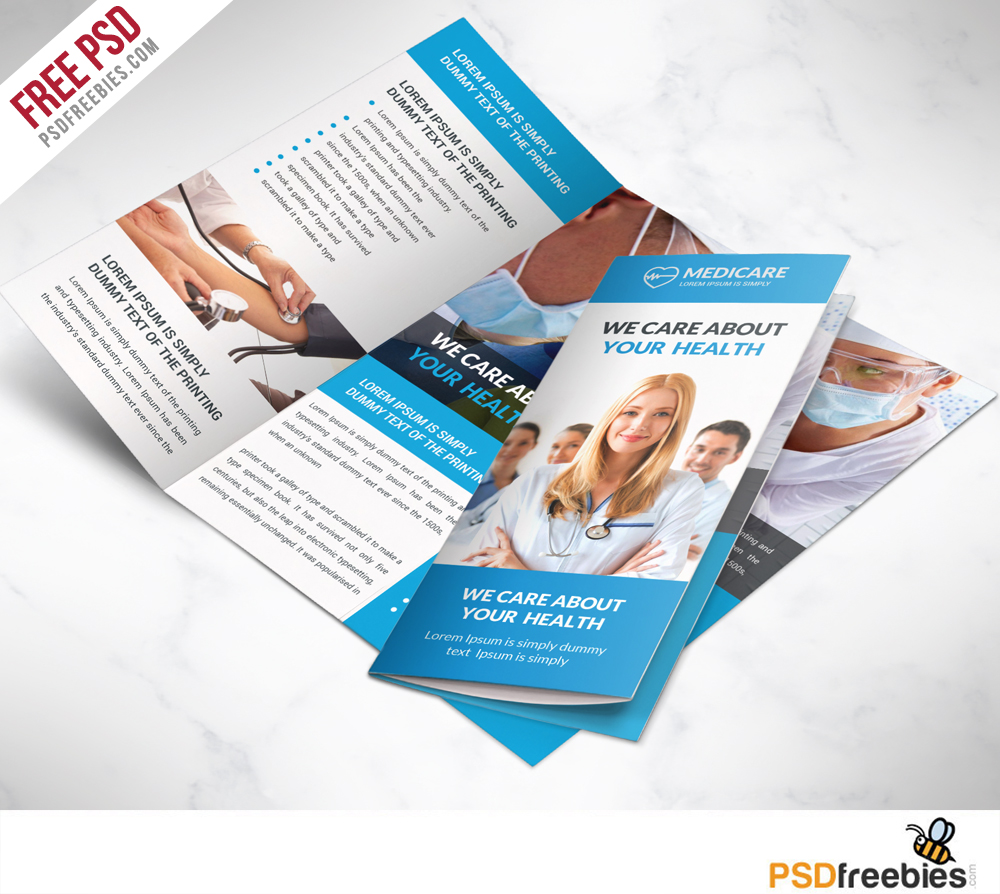 Medical care and hospital trifold brochure template free for Clinic brochure template