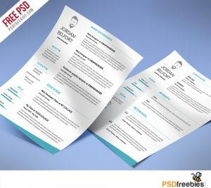 Minimal and Clean resume Free PSD Template