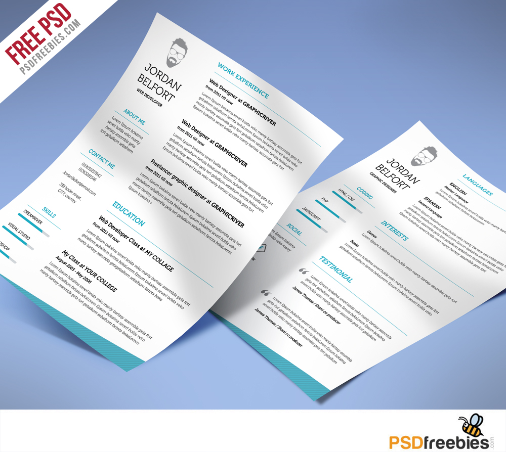 minimal and clean resume free psd template - psdfreebies com