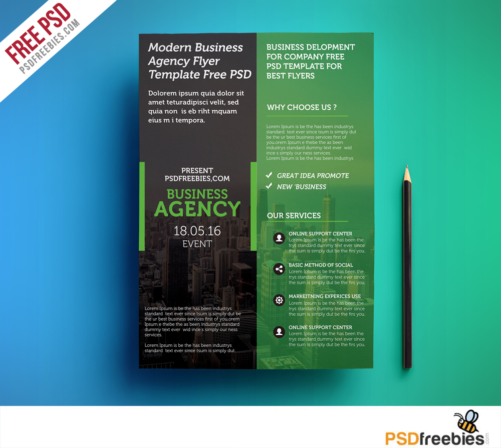 Modern business agency flyer template free psd for Free psd flyer templates
