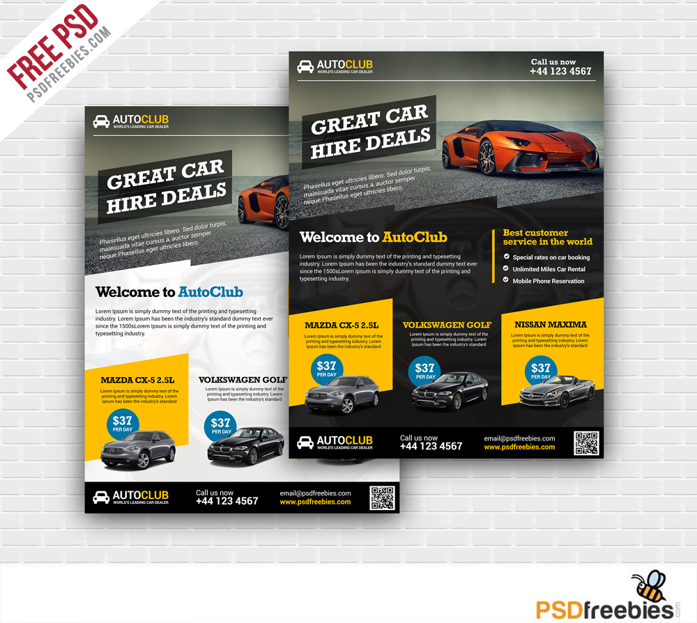 Cars Rental Flyer Free PSD Template – Templates for Flyers Free