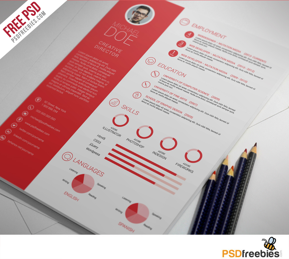 Professional Resume Templates Free: Graphic Designer Resume Template PSD
