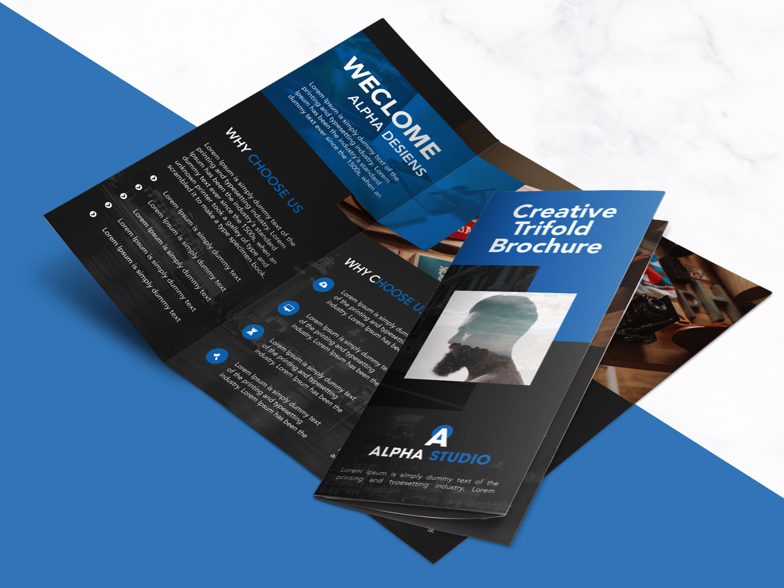 corporate brochure design psd free download - creative agency trifold brochure free psd template
