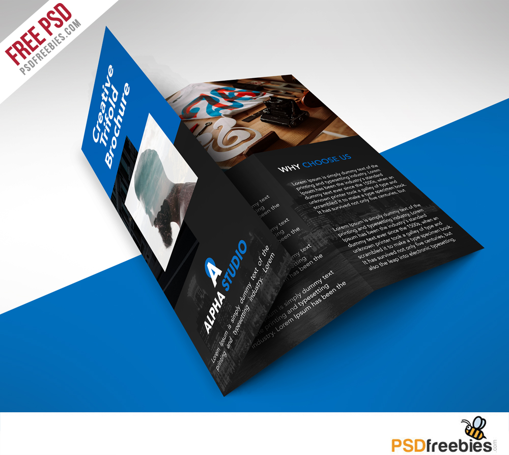 Creative agency trifold brochure free psd template for Pamphlet photoshop template