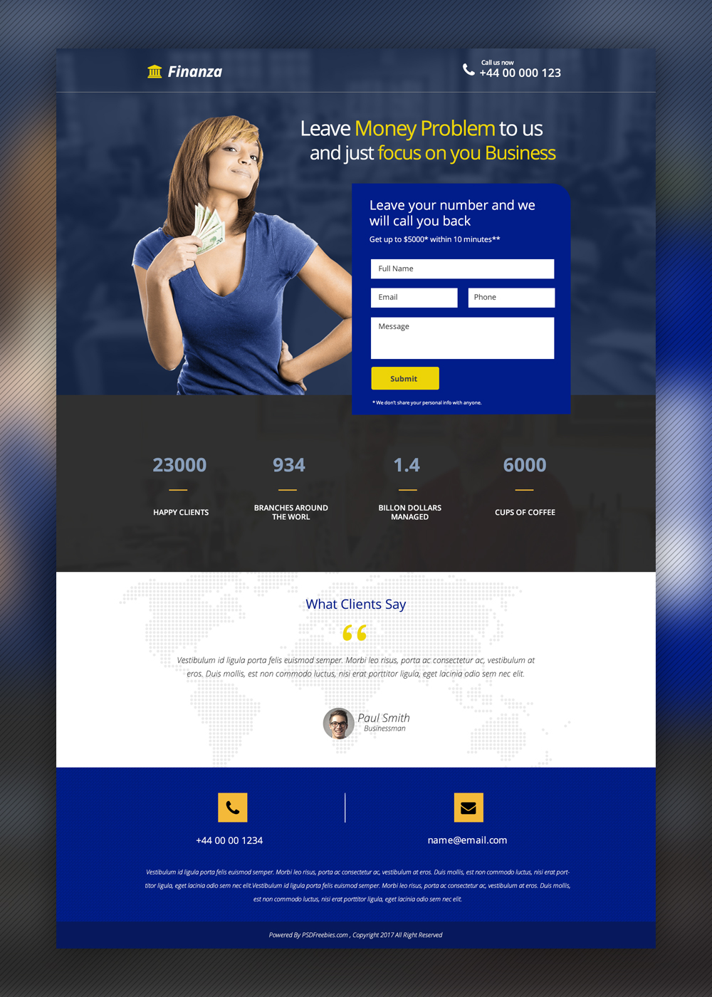 Finance and Banking Landing page Free PSD Template | PSDFreebies.com