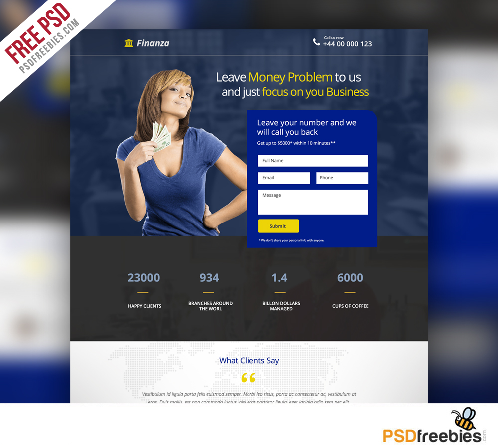 Finance And Banking Landing Page Free PSD Template