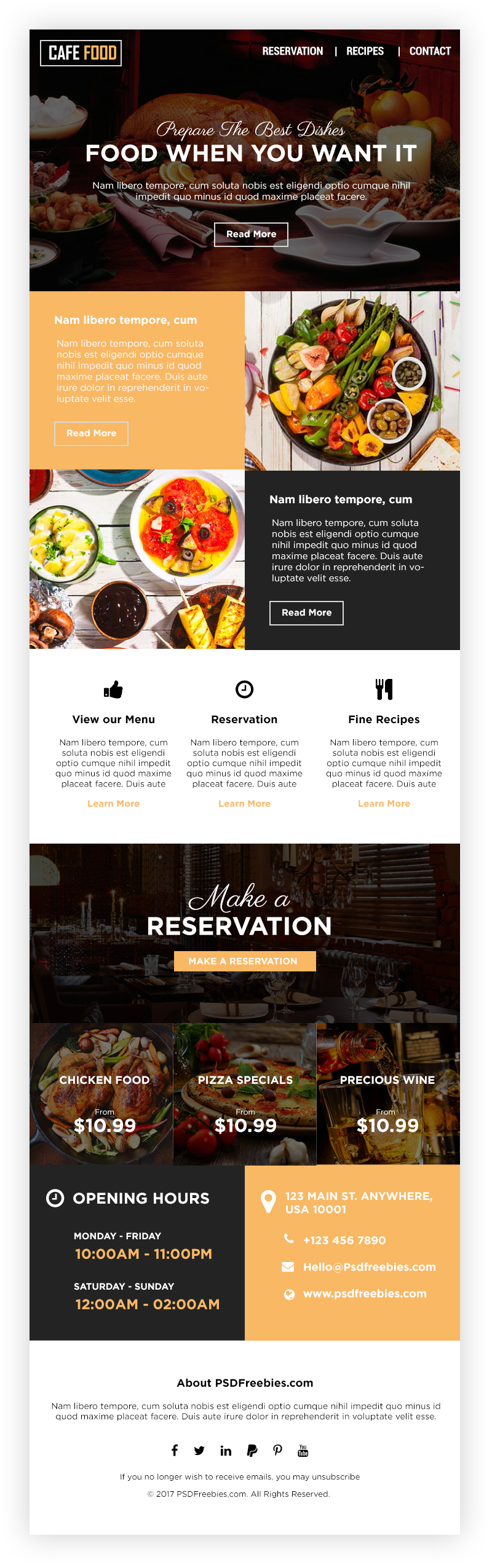 Food and Restaurent E-newsletters Free PSD Template