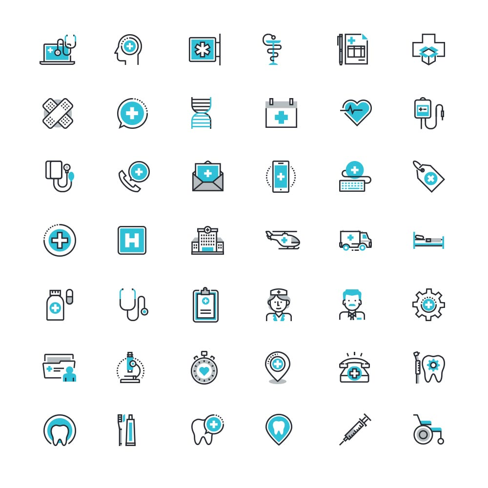 Healthcare and Medicine Icon set Free PSD