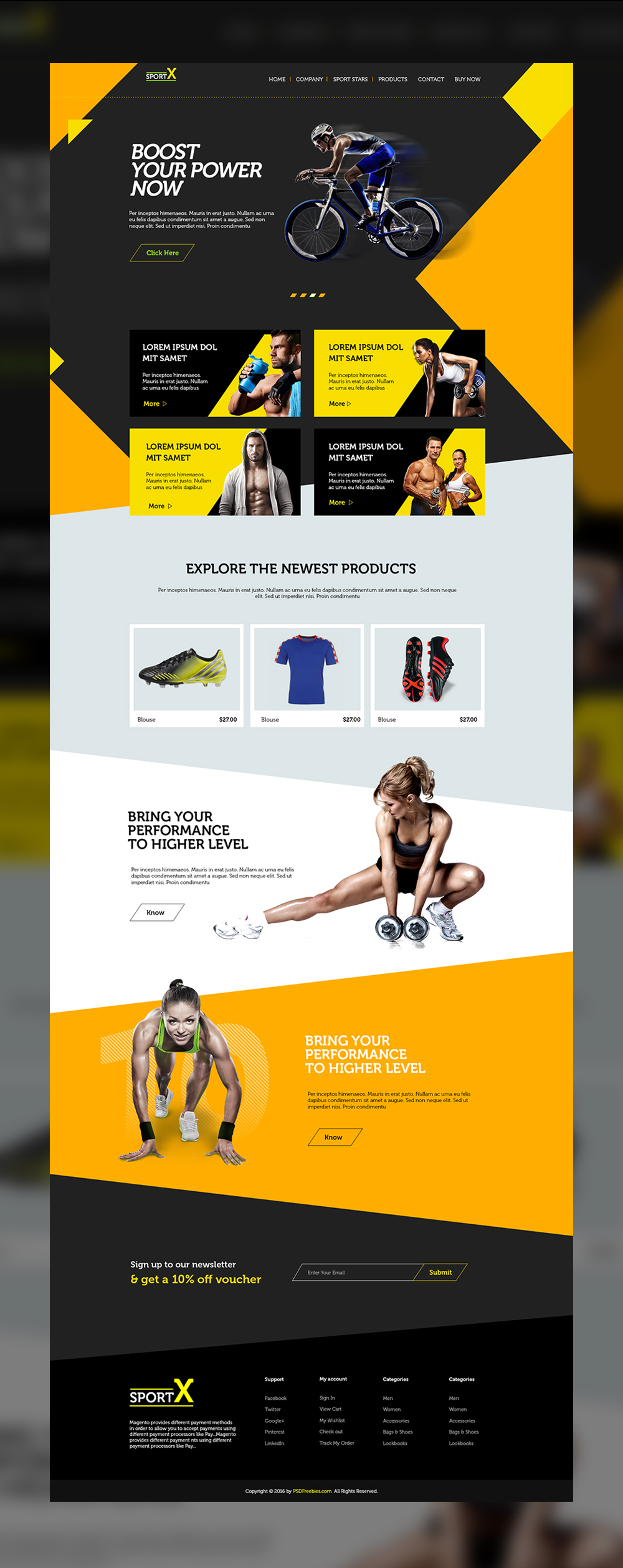 Sports shop website multipurpose free psd template for Website to shop online