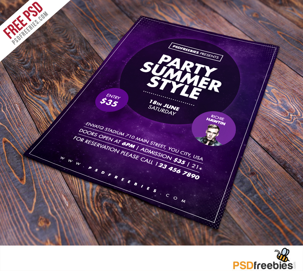 summer party flyer free psd template. Black Bedroom Furniture Sets. Home Design Ideas