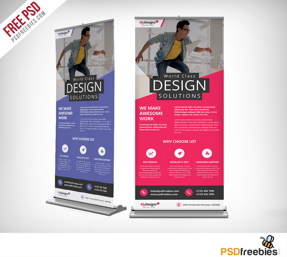 Corporate Outdoor Roll Up Banner Free Psd Psdfreebies Com