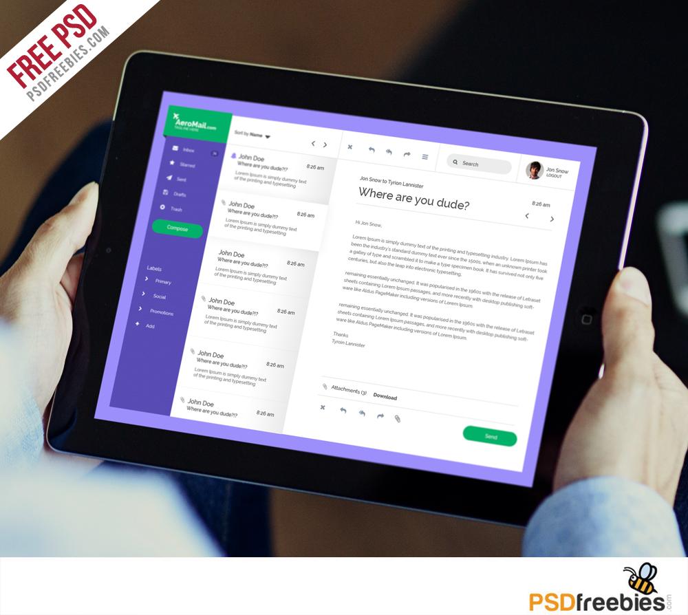 Flat Style Inbox UI Free PSD