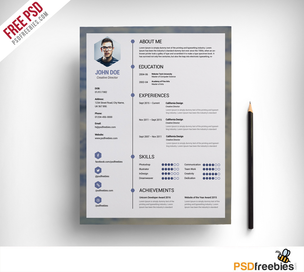 Free Psd Templates: Free Clean Resume PSD Template