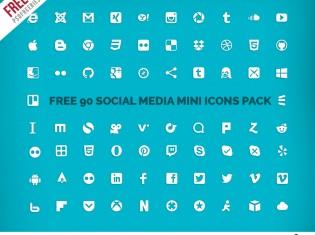 Free Social Media Mini Icons Pack PSD