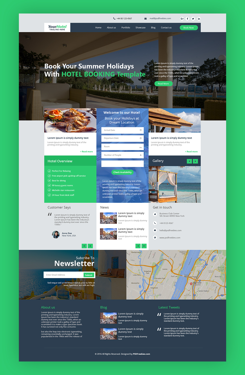 Hotel and Resort Booking Website Template Free PSD | PSDFreebies com