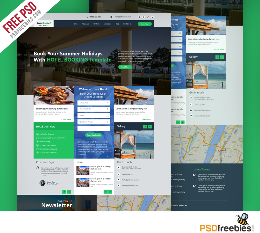Yoopin multipurpose modern website template free psd for Hotel booking design