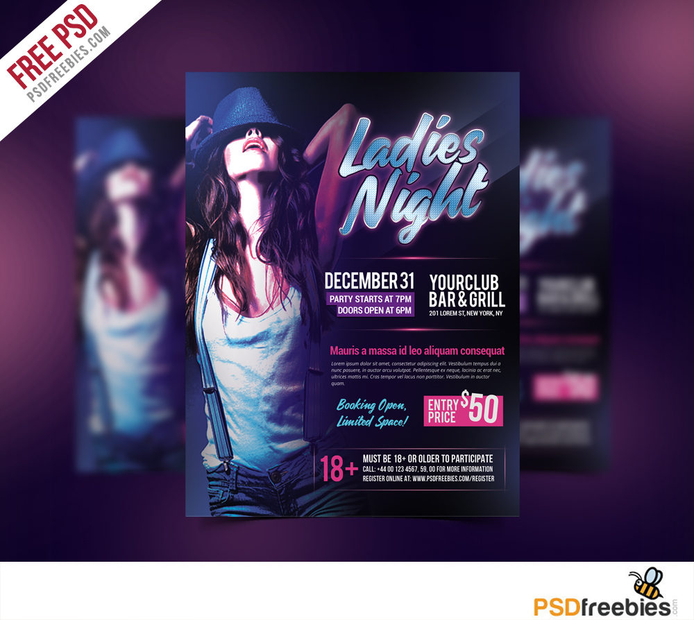 ladies night flyer free psd template psdfreebies com