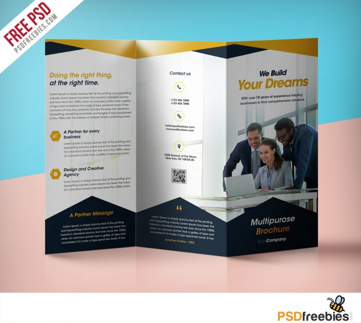 Professional Corporate Tri-Fold Brochure Free PSD Template