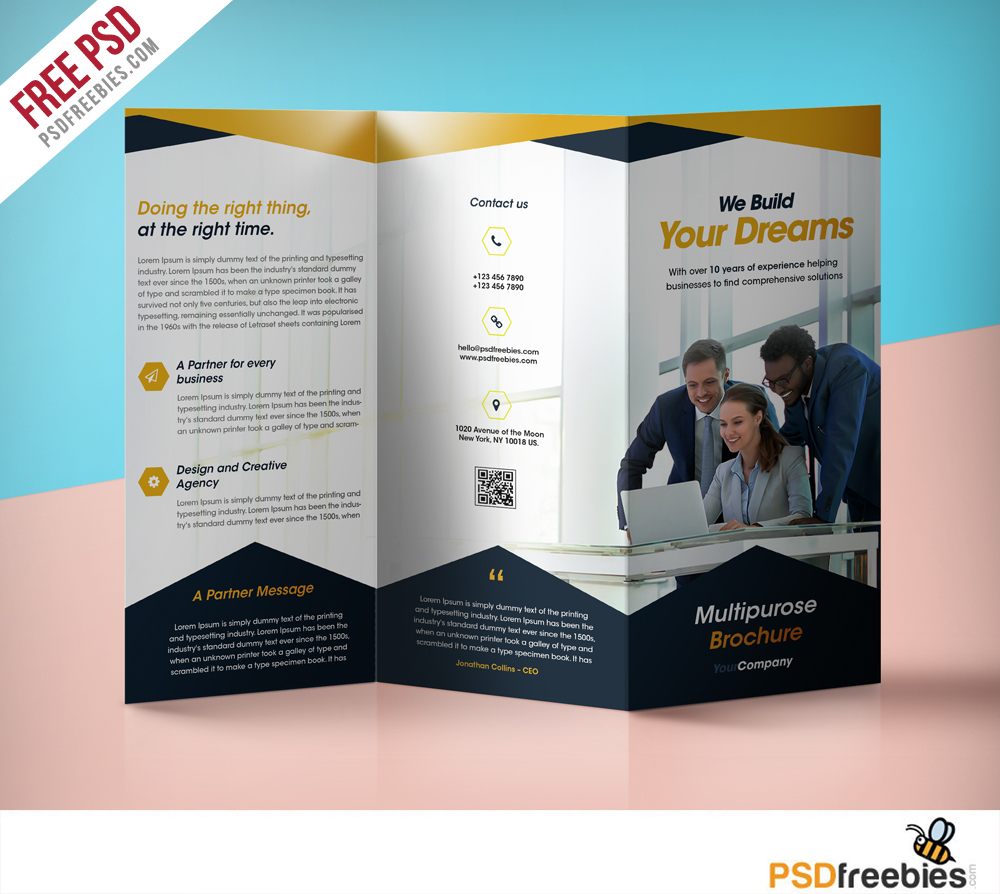 Professional corporate tri fold brochure free psd template for Tri fold school brochure template