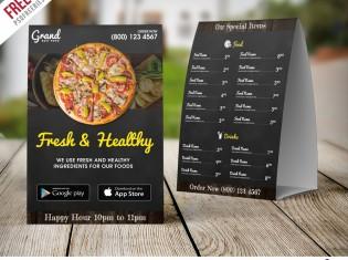 Restaurant Food Menu Table Tent Template Free PSD