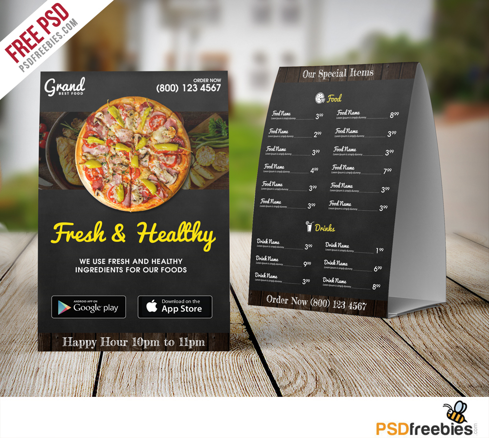 restaurant food menu table tent template free psd psdfreebies com