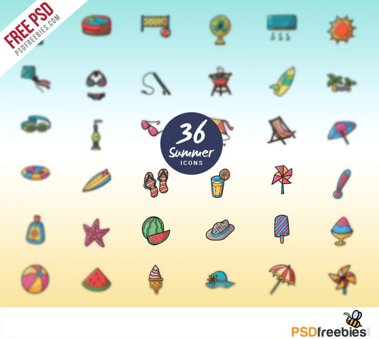 Summer Vacations and Holidays Icon set Free PSD