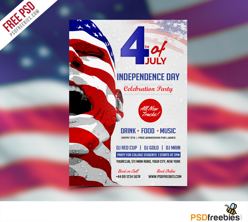 USA Independence Day Flyer Template Free PSD : PSDFreebies.com