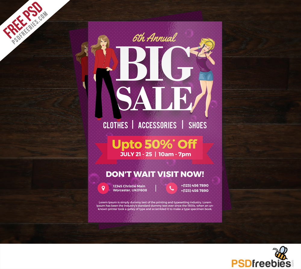 big sale colorful flyer free psd template. Black Bedroom Furniture Sets. Home Design Ideas