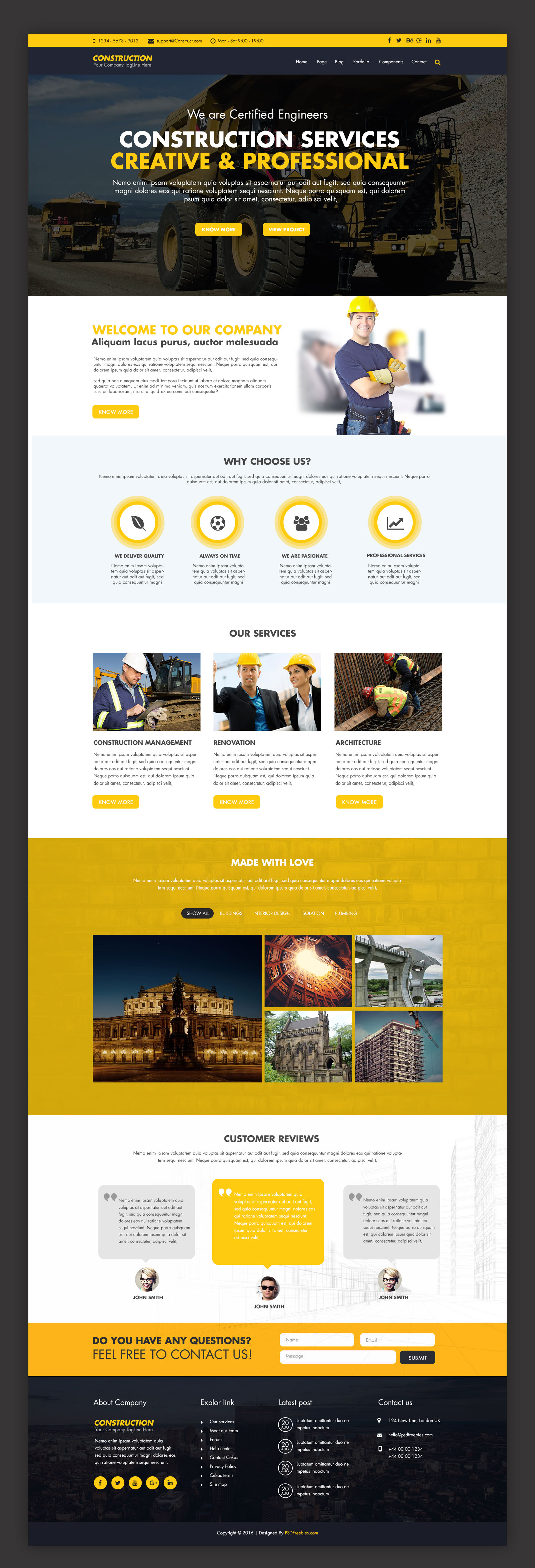 Construction company website template free psd for Website templates free download
