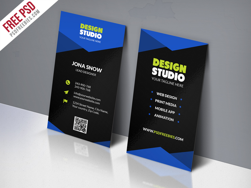 Modern corporate business card free psd for Free business card templates psd