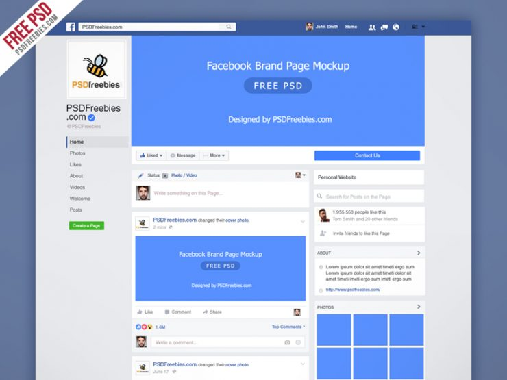 Facebook Mockup 2018 PSD Template | PSDFreebies com