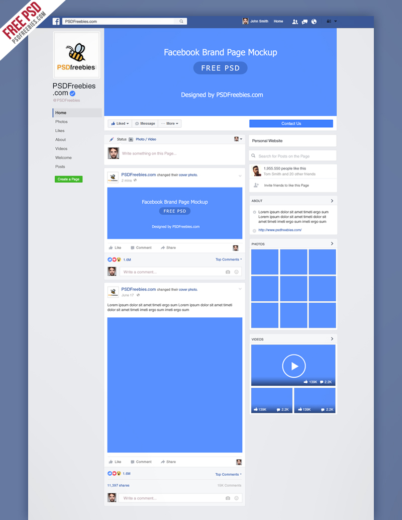 Facebook new brand page 2016 mockup psd for Facebook page design template free