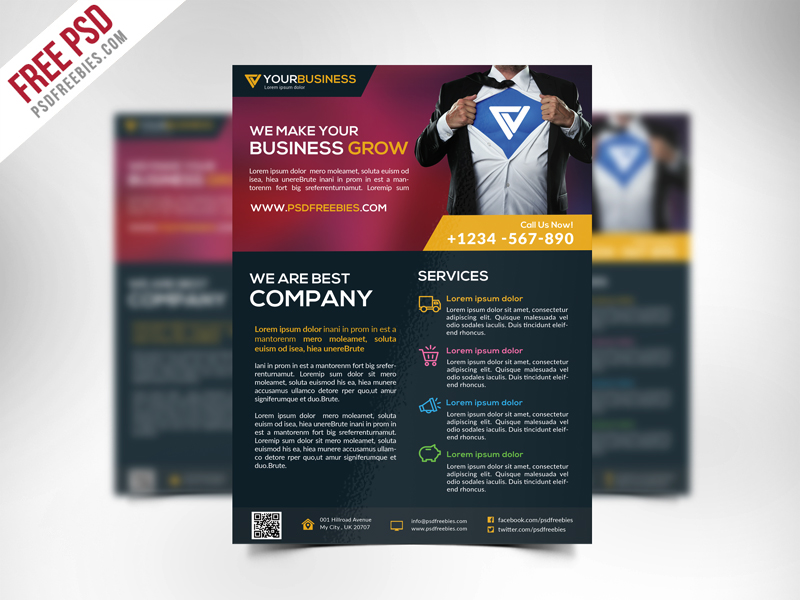 Free corporate business flyer template psd psdfreebies free corporate business flyer template psd wajeb Images
