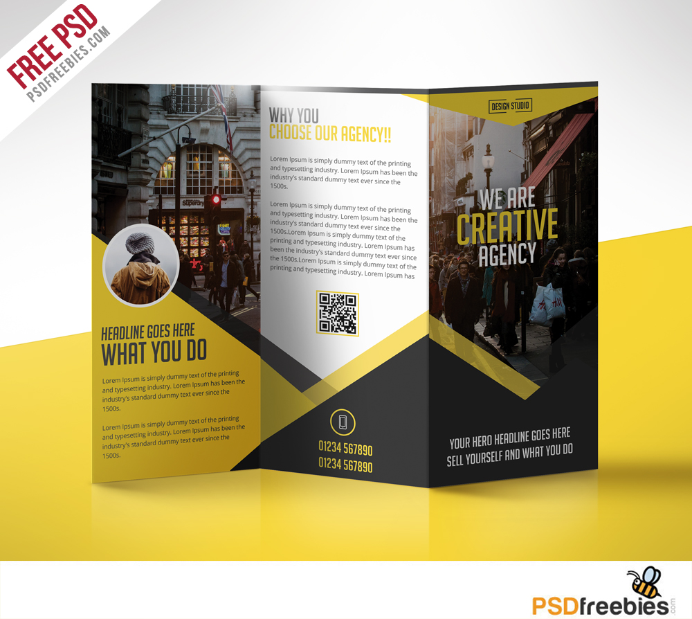 One Fold Brochure Template Free: Fast Food Menu Trifold Brochure Free PSD