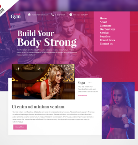 Sports and Fitness Website Template Free PSD