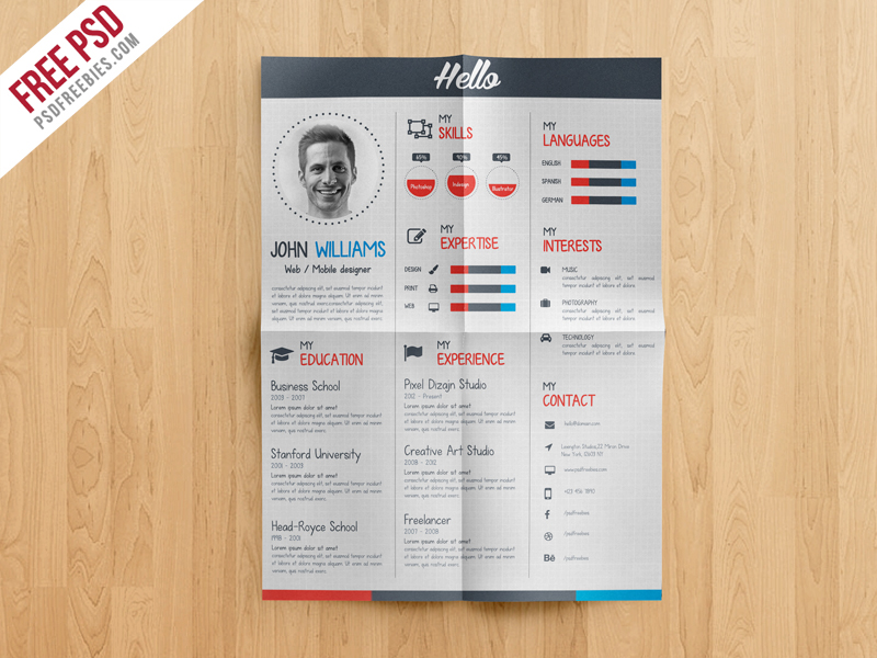 creative and professional resume free psd template - psdfreebies com