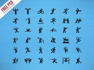 Flat Sports Iconset Free PSD