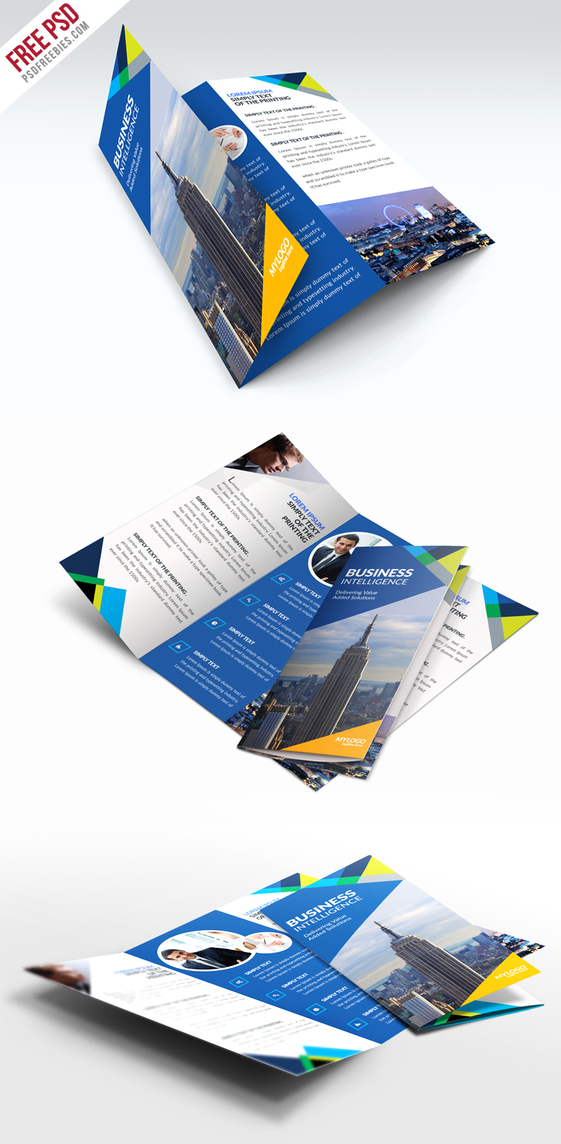 Free Business TriFold Brochure PSD Template