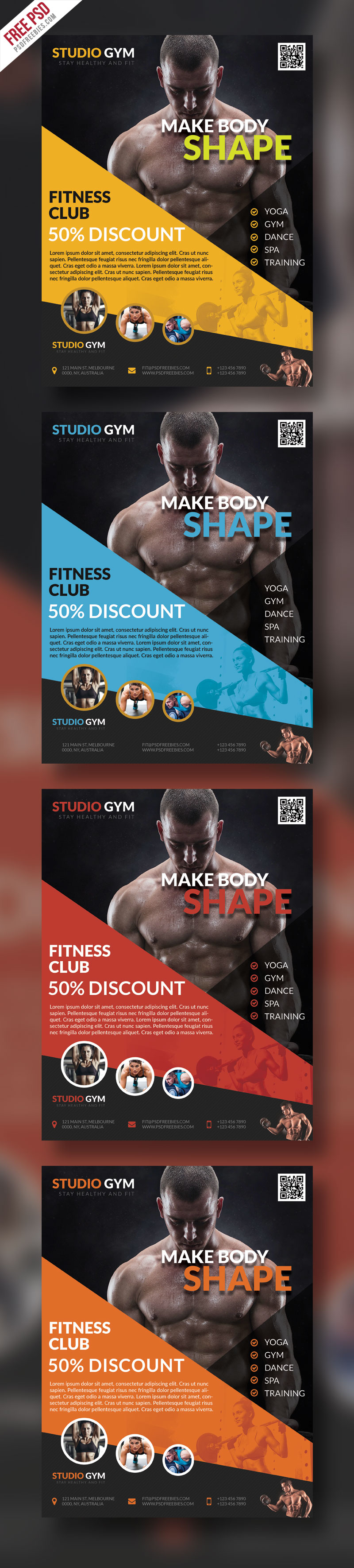 Health and Fitness Flyer Bundle Free PSD