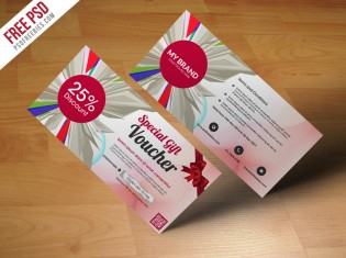 Multiuse Gift Voucher Template Free PSD