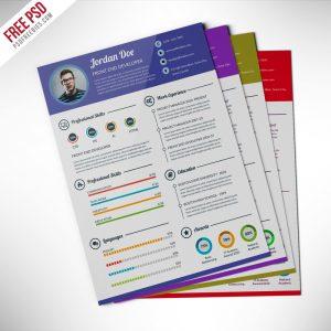 Professional Resume CV Template Free PSD