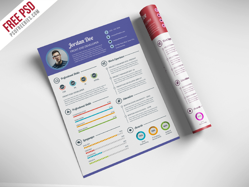 psd resume templates free creative resume for web designer psd psdfreebies 24164