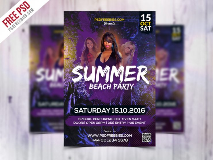 Summer Beach Party Flyer Template Free PSD